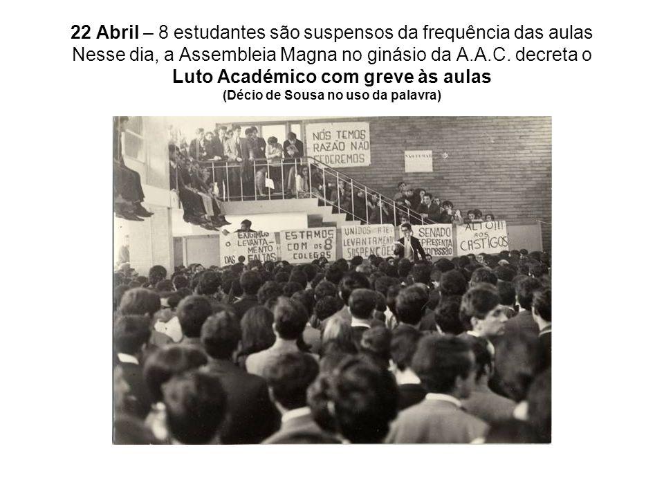 22 Abril – 8 estudantes são suspensos da frequência das aulas Nesse dia, a Assembleia Magna no ginásio da A.A.C. decreta o Luto Académico com greve às