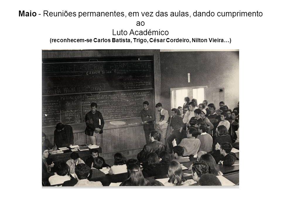 Maio - Reuniões permanentes, em vez das aulas, dando cumprimento ao Luto Académico (reconhecem-se Carlos Batista, Trigo, César Cordeiro, Nilton Vieira