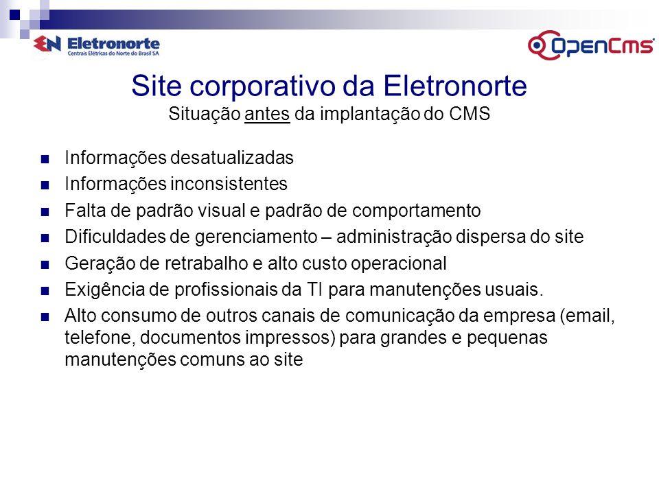 Site corporativo da Eletronorte Situação antes da implantação do CMS Informações desatualizadas Informações inconsistentes Falta de padrão visual e pa