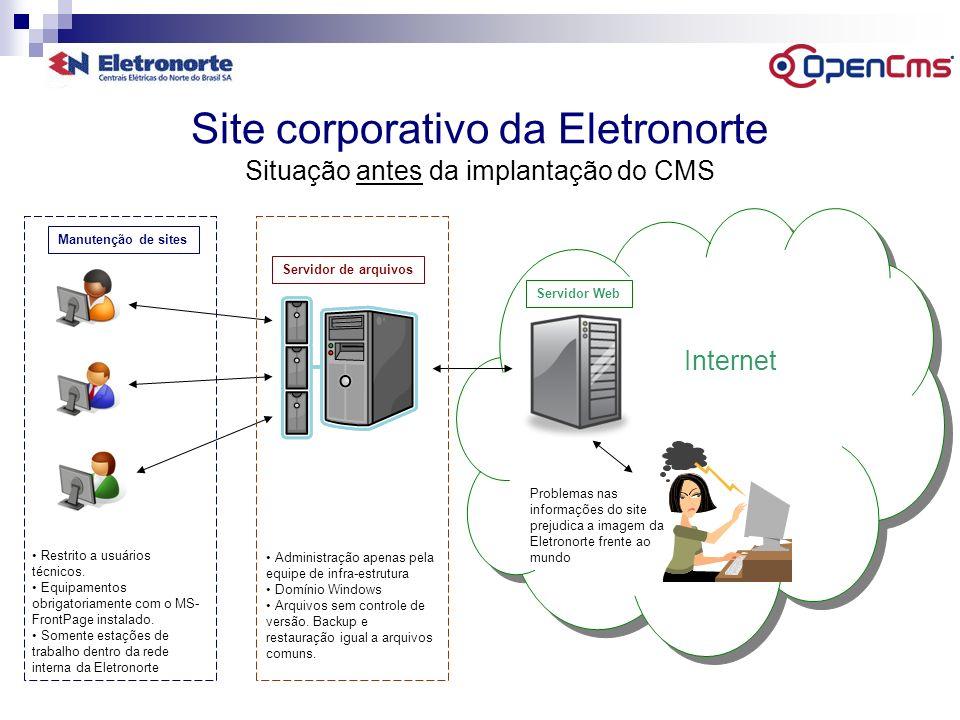 Site corporativo da Eletronorte Situação antes da implantação do CMS Internet Restrito a usuários técnicos. Equipamentos obrigatoriamente com o MS- Fr