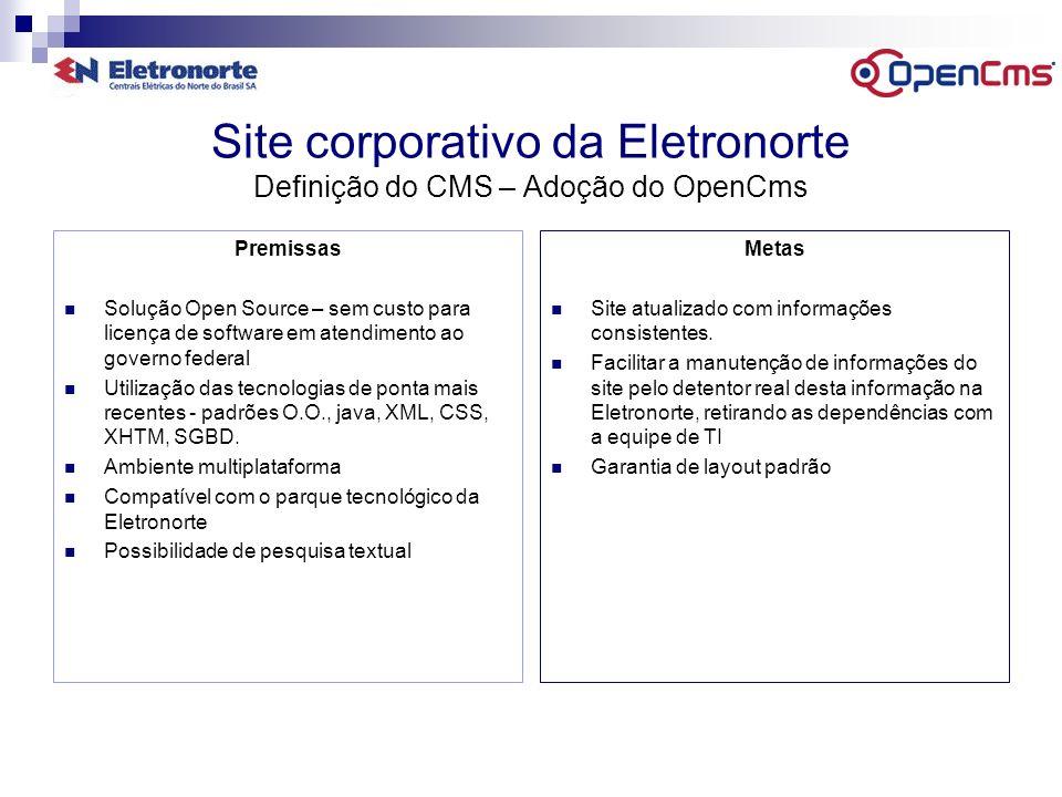 Internet Site corporativo da Eletronorte Situação após a implantação do CMS Facilidade de utilização a qualquer usuário de pequena curva de aprendizagem.