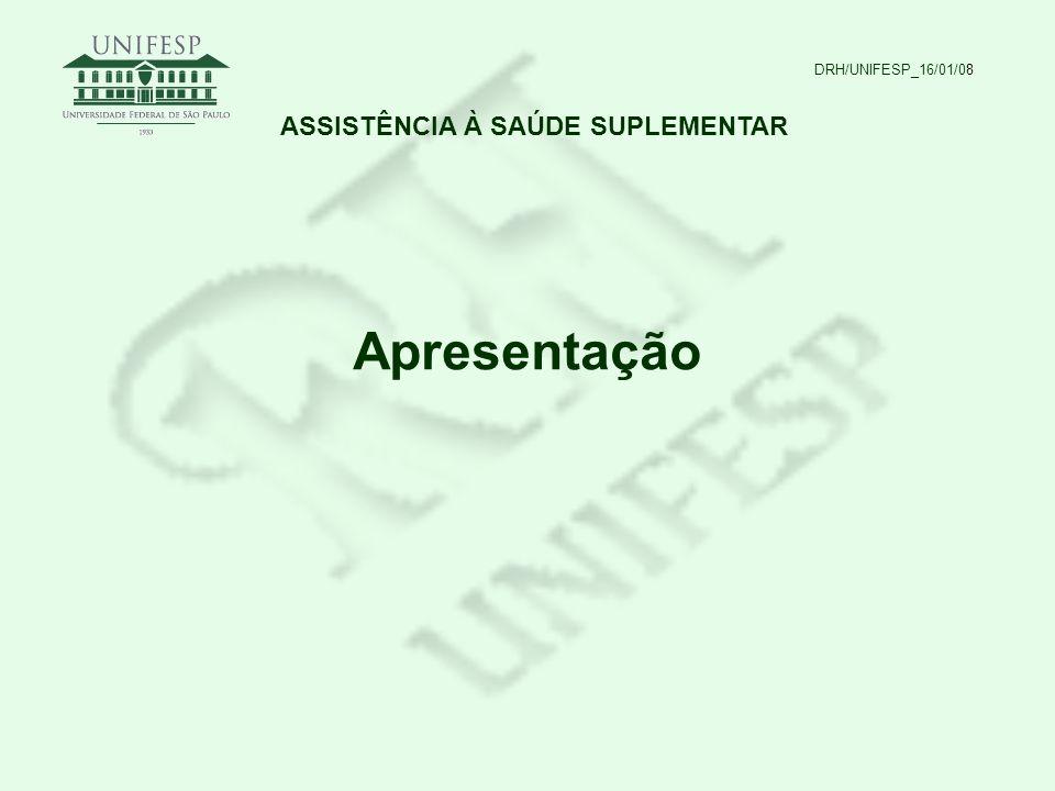 DRH/UNIFESP_16/01/08 ASSISTÊNCIA À SAÚDE SUPLEMENTAR Regulamentação: Lei nº 8.112/1990 – art.