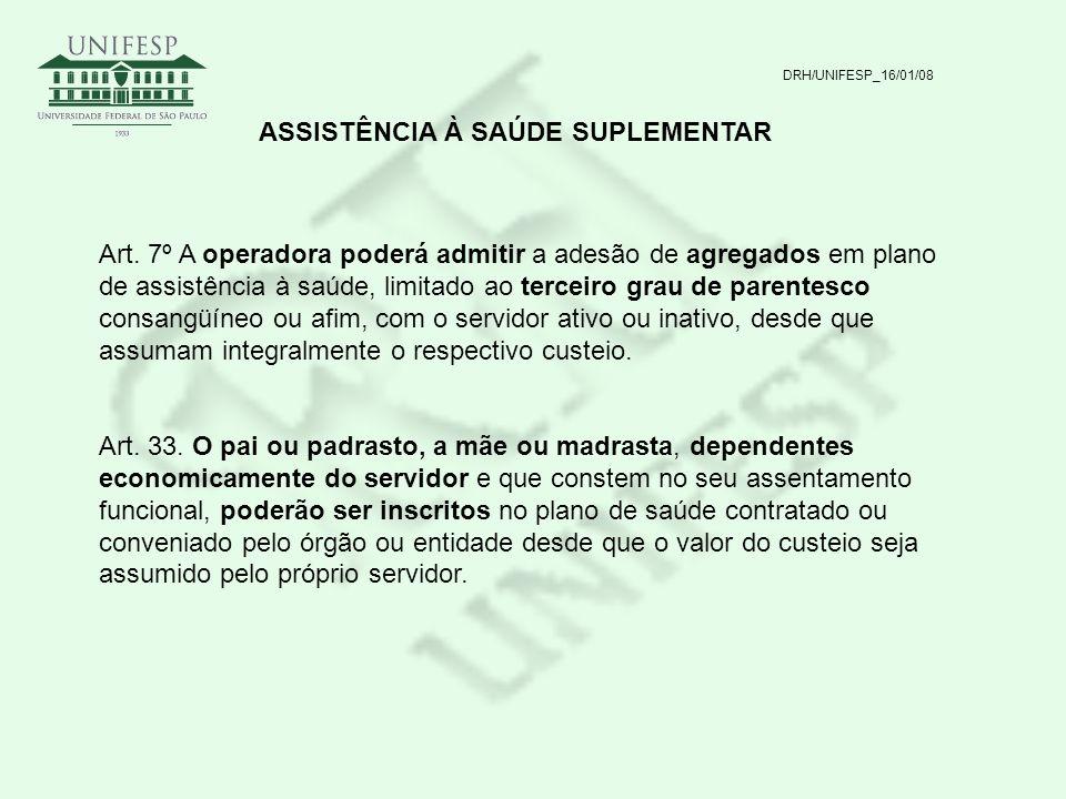 DRH/UNIFESP_16/01/08 ASSISTÊNCIA À SAÚDE SUPLEMENTAR Art. 7º A operadora poderá admitir a adesão de agregados em plano de assistência à saúde, limitad