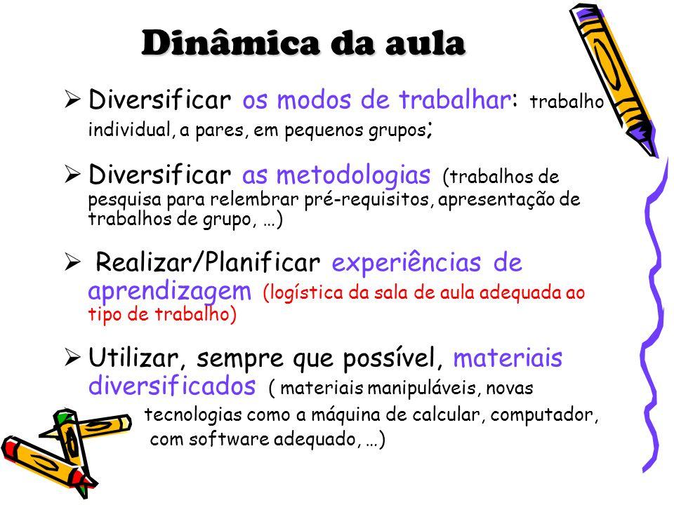 Dinâmica da aula Diversificar os modos de trabalhar: trabalho individual, a pares, em pequenos grupos ; Diversificar as metodologias (trabalhos de pes
