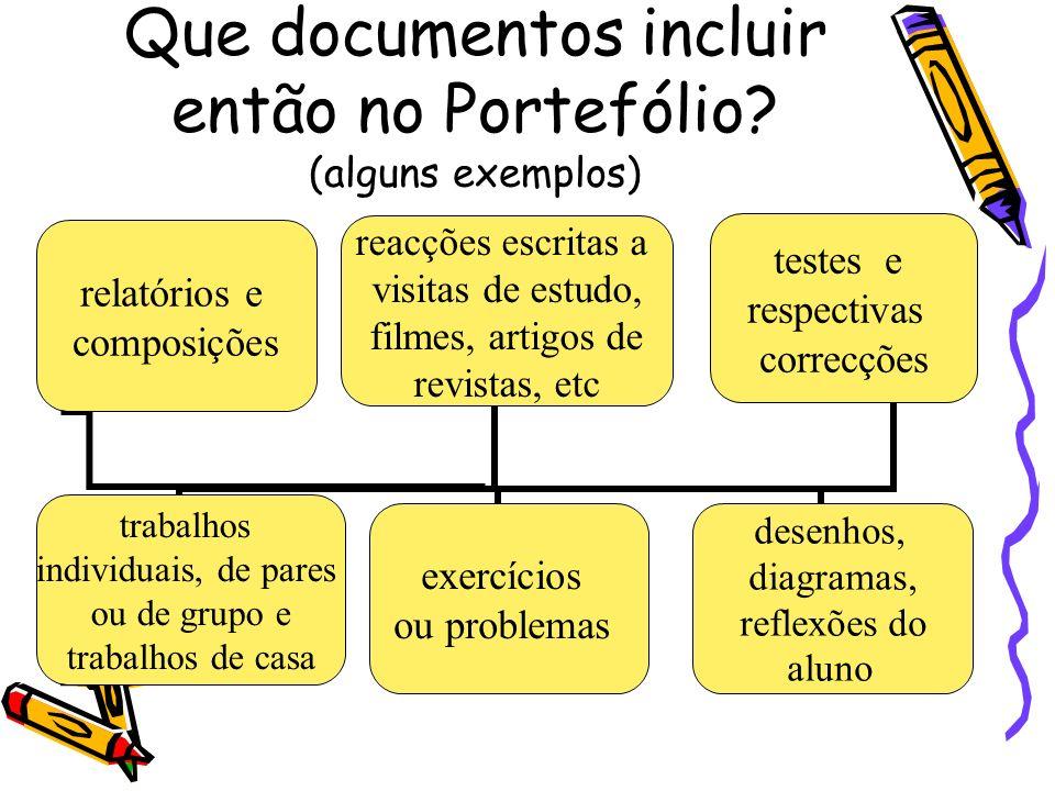 Que documentos incluir então no Portefólio? (alguns exemplos) relatórios e composições testes e respectivas correcções