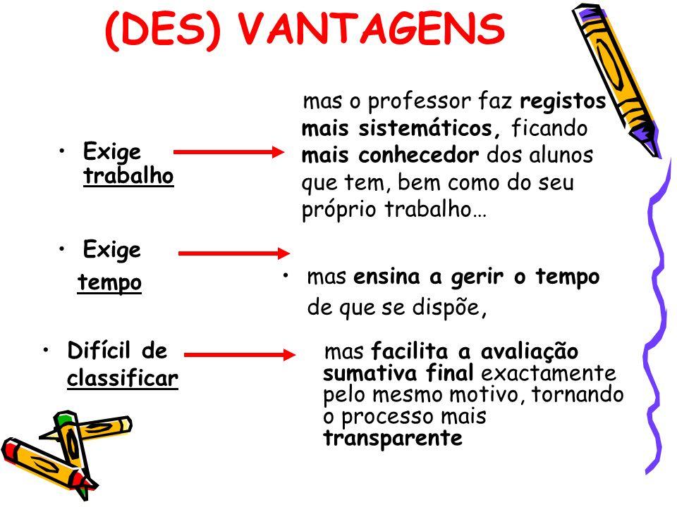 (DES) VANTAGENS Exige trabalho Exige tempo Difícil de classificar mas o professor faz registos mais sistemáticos, ficando mais conhecedor dos alunos q