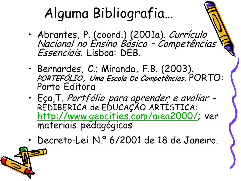 Alguma Bibliografia… Abrantes, P. (coord.) (2001a). Currículo Nacional no Ensino Básico – Competências Essenciais. Lisboa: DEB. Bernardes, C.; Miranda