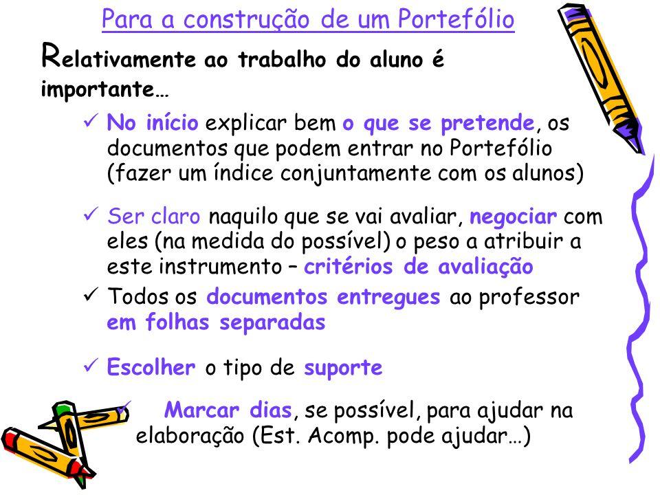Para a construção de um Portefólio R elativamente ao trabalho do aluno é importante… No início explicar bem o que se pretende, os documentos que podem
