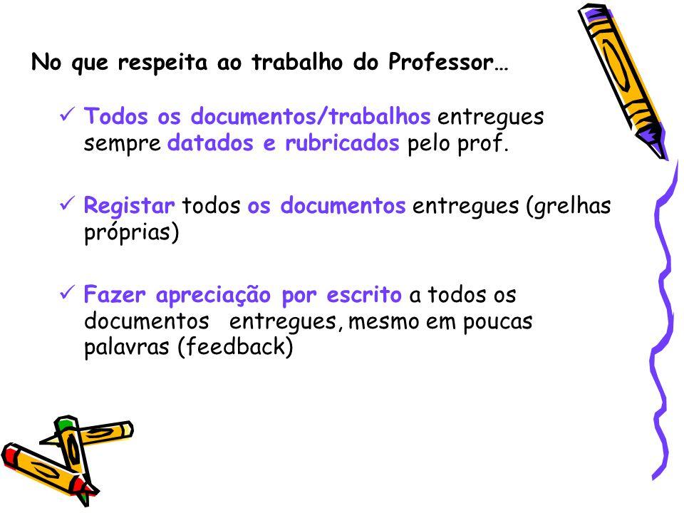 No que respeita ao trabalho do Professor… Todos os documentos/trabalhos entregues sempre datados e rubricados pelo prof. Registar todos os documentos