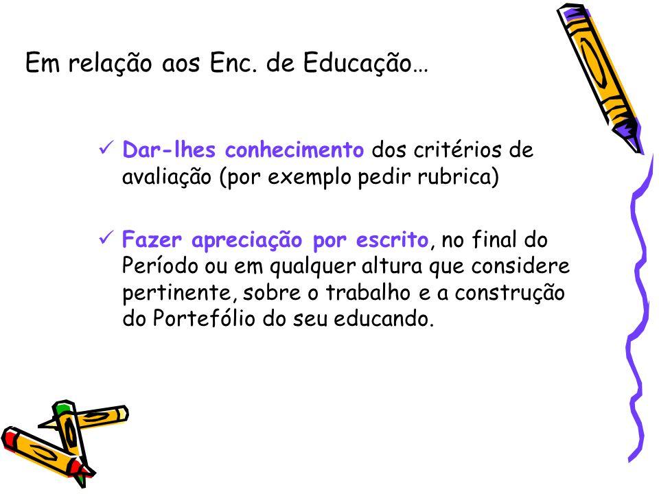 Em relação aos Enc. de Educação… Dar-lhes conhecimento dos critérios de avaliação (por exemplo pedir rubrica) Fazer apreciação por escrito, no final d
