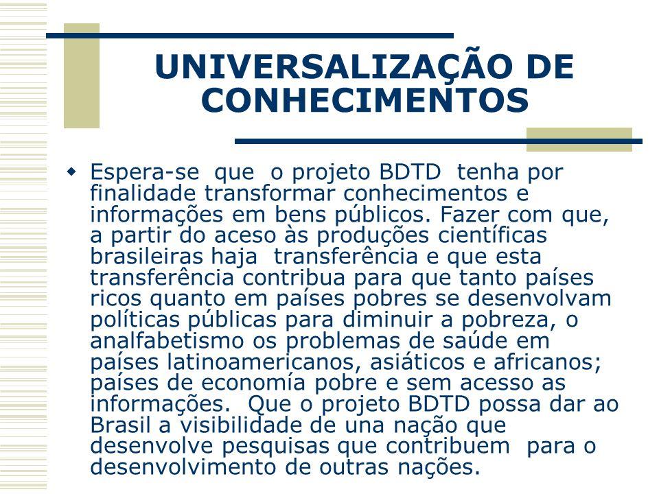 UNIVERSALIZAÇÃO DE CONHECIMENTOS Espera-se que o projeto BDTD tenha por finalidade transformar conhecimentos e informações em bens públicos. Fazer com