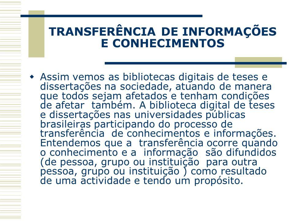 TRANSFERÊNCIA DE INFORMAÇÕES E CONHECIMENTOS Assim vemos as bibliotecas digitais de teses e dissertações na sociedade, atuando de manera que todos sej