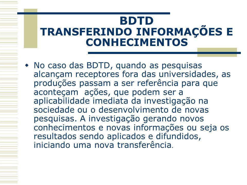 BDTD TRANSFERINDO INFORMAÇ Õ ES E CONHECIMENTOS No caso das BDTD, quando as pesquisas alcançam receptores fora das universidades, as produções passam