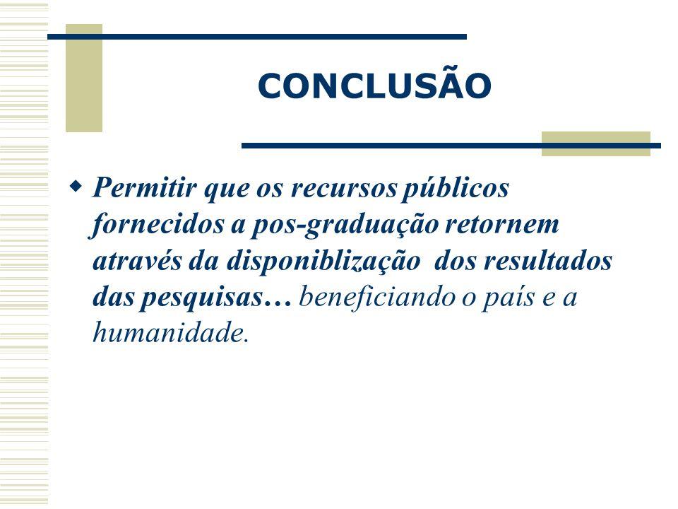 CONCLUSÃO Permitir que os recursos públicos fornecidos a pos-graduação retornem através da disponiblização dos resultados das pesquisas… beneficiando
