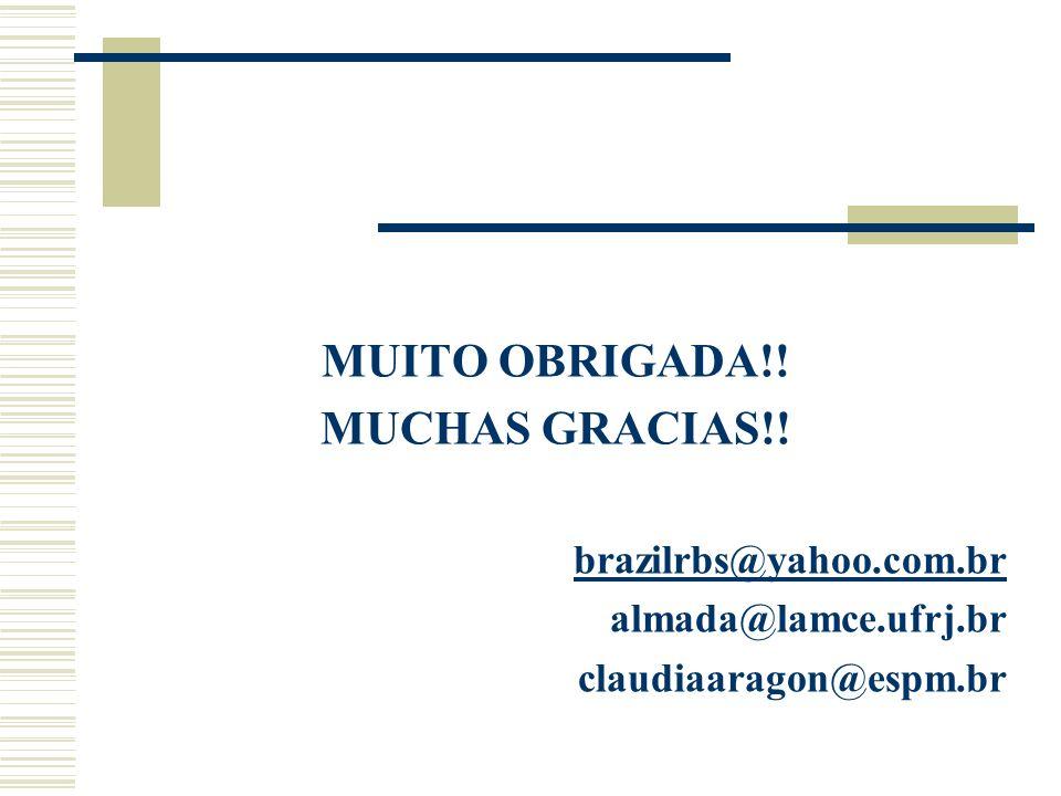 MUITO OBRIGADA!! MUCHAS GRACIAS!! brazilrbs@yahoo.com.br almada@lamce.ufrj.br claudiaaragon@espm.br
