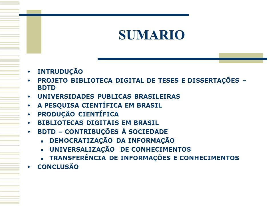 SUMARIO INTRUDUÇÃO PROJETO BIBLIOTECA DIGITAL DE TESES E DISSERTAÇÕES – BDTD UNIVERSIDADES PUBLICAS BRASILEIRAS A PESQUISA CIENTÍFICA EM BRASIL PRODUÇ