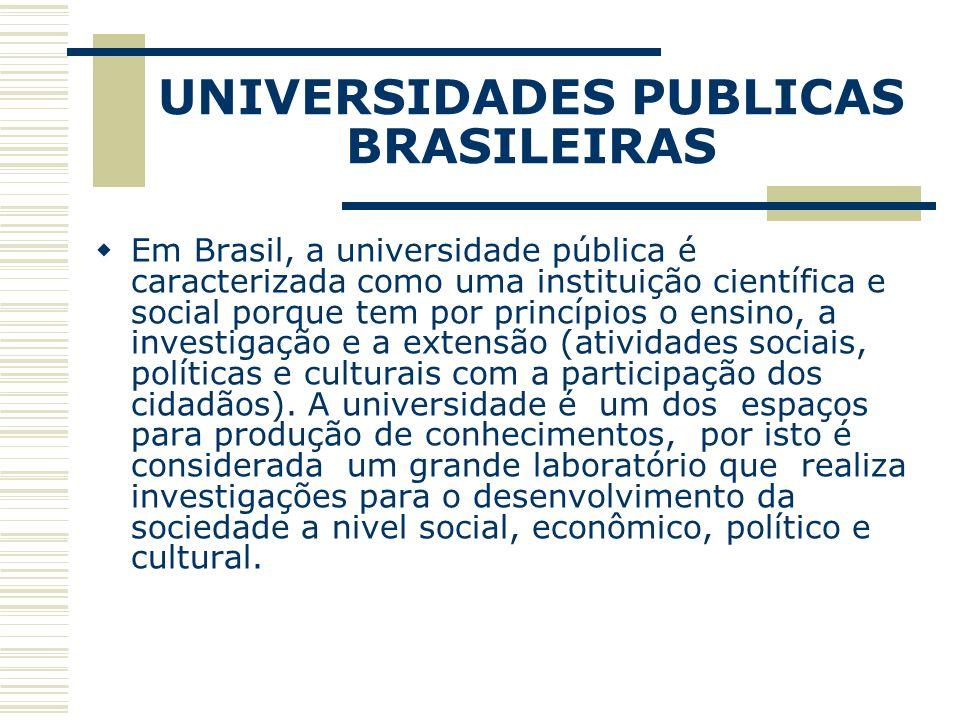 UNIVERSIDADES PUBLICAS BRASILEIRAS Em Brasil, a universidade pública é caracterizada como uma instituição científica e social porque tem por princípio
