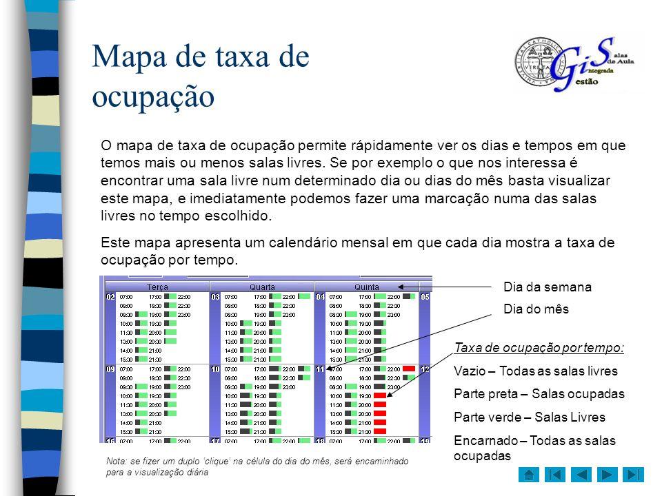 Mapa de actividades por sala Este é o mapa que permite consultar mais informação de uma só vez, para isso representa o mês numa forma tabular em que cada linha pertence a uma sala e cada coluna a um dia do mês.