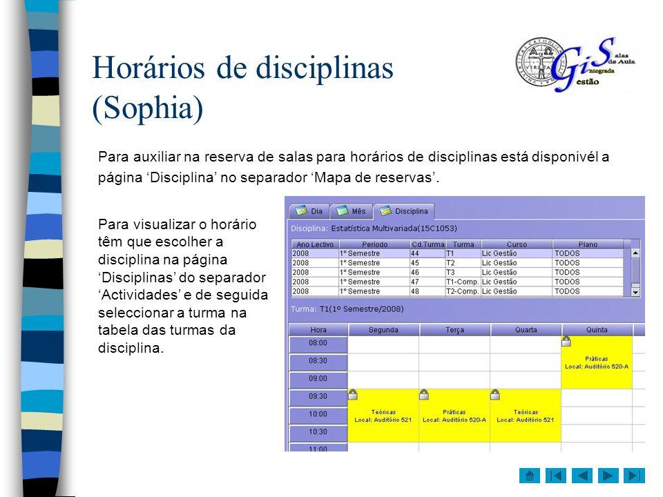 Actividades Existem no GIS dois tipos de actividades para as quais podemos fazer marcações, disciplinas e outras.