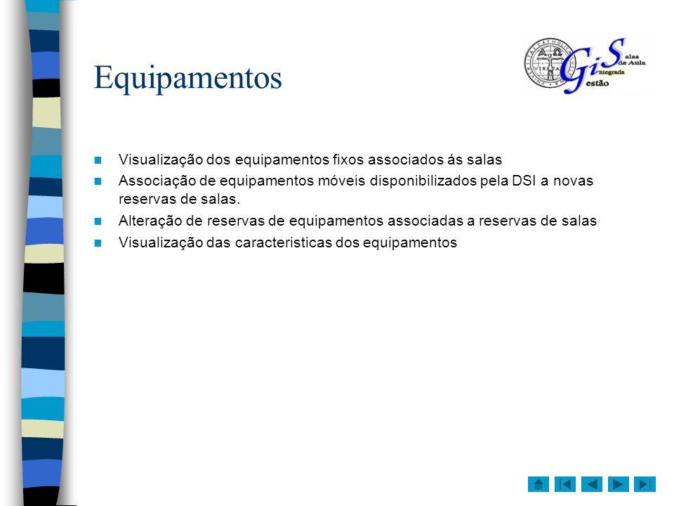 Reserva de equipamentos Na janela de marcação de reserva, pode visualizar os equipamentos préviamente associados á sala, e também pode adicionar outros equipamentos que tenham sido disponiblizados pela DSI para reservas.