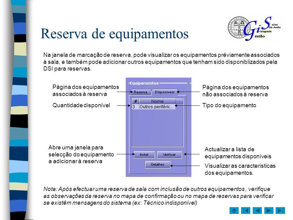 Reserva de equipamentos Na janela de marcação de reserva, pode visualizar os equipamentos préviamente associados á sala, e também pode adicionar outro