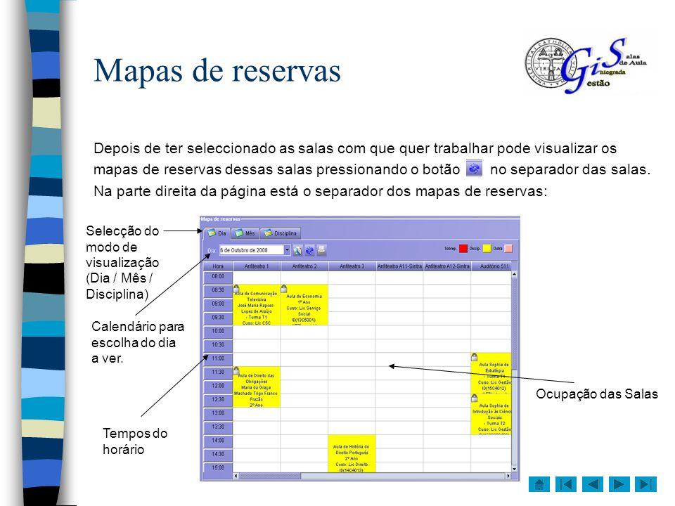 Para ver o mapa de visualização diária seleccione a opção Dia no separador Mapa de reservas.