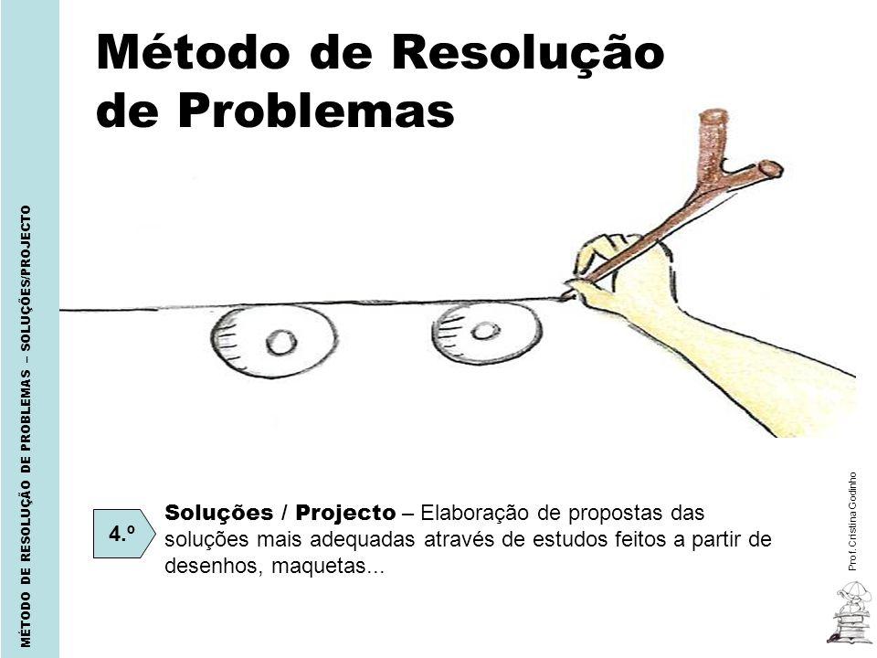Prof. Cristina Godinho MÉTODO DE RESOLUÇÃO DE PROBLEMAS – SOLUÇÕES/PROJECTO Método de Resolução de Problemas 4.º Soluções / Projecto – Elaboração de p