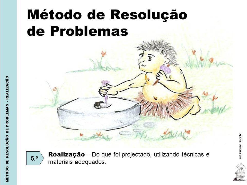 Prof. Cristina Godinho MÉTODO DE RESOLUÇÃO DE PROBLEMAS - REALIZAÇÃO Método de Resolução de Problemas 5.º Realização – Do que foi projectado, utilizan