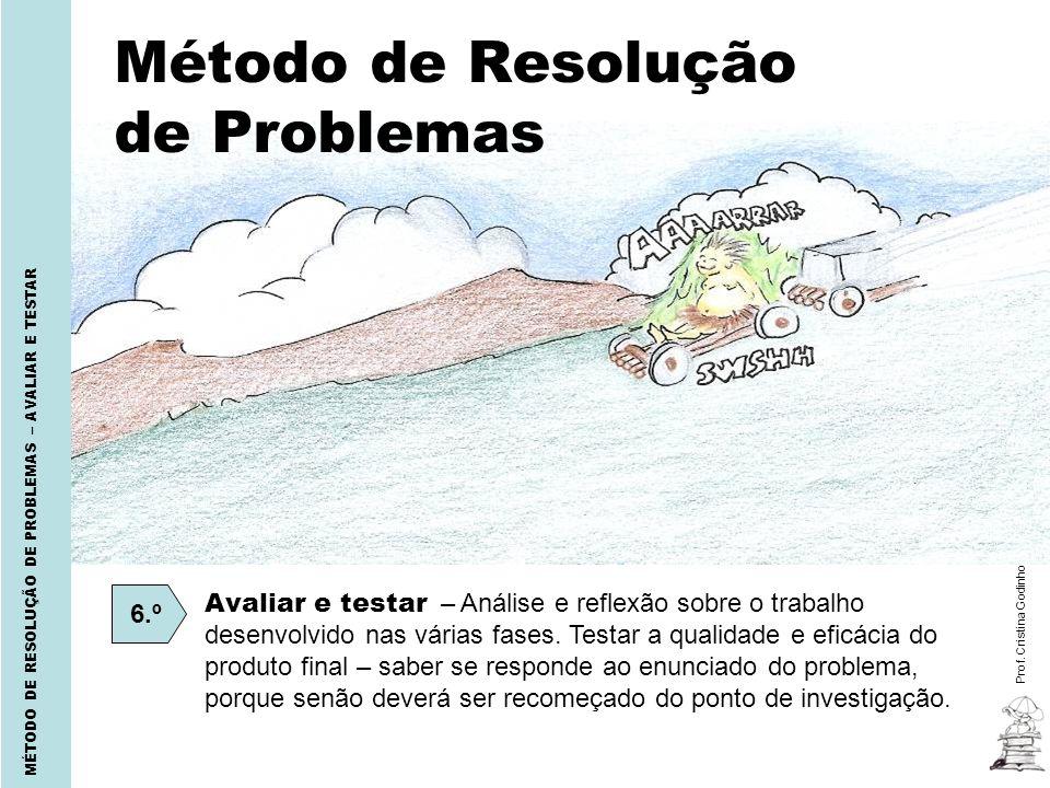 Prof. Cristina Godinho MÉTODO DE RESOLUÇÃO DE PROBLEMAS – AVALIAR E TESTAR Método de Resolução de Problemas 6.º Avaliar e testar – Análise e reflexão