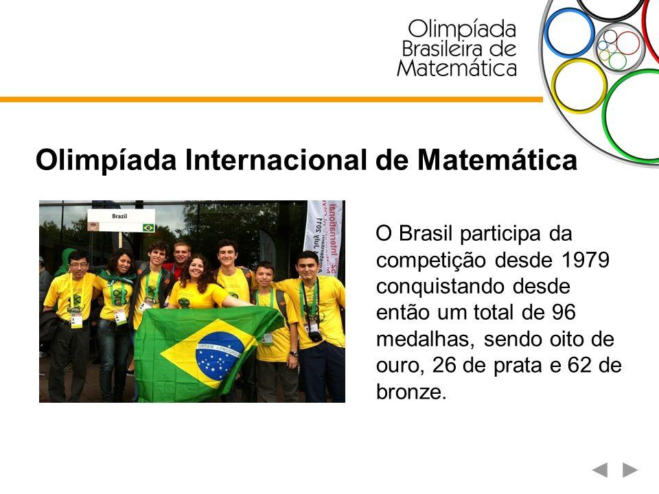 Olimpíada Internacional de Matemática O Brasil participa da competição desde 1979 conquistando desde então um total de 96 medalhas, sendo oito de ouro