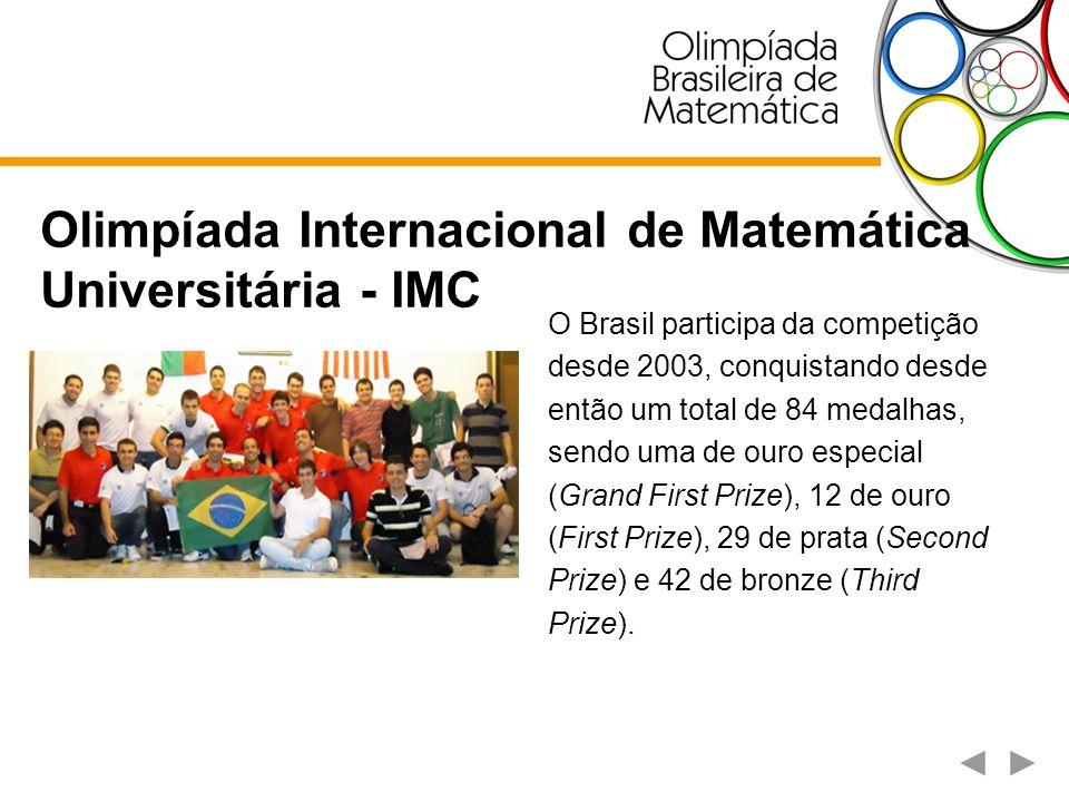 Olimpíada Internacional de Matemática Universitária - IMC O Brasil participa da competição desde 2003, conquistando desde então um total de 84 medalha