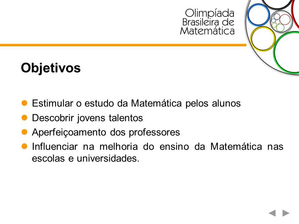 Objetivos Estimular o estudo da Matemática pelos alunos Descobrir jovens talentos Aperfeiçoamento dos professores Influenciar na melhoria do ensino da