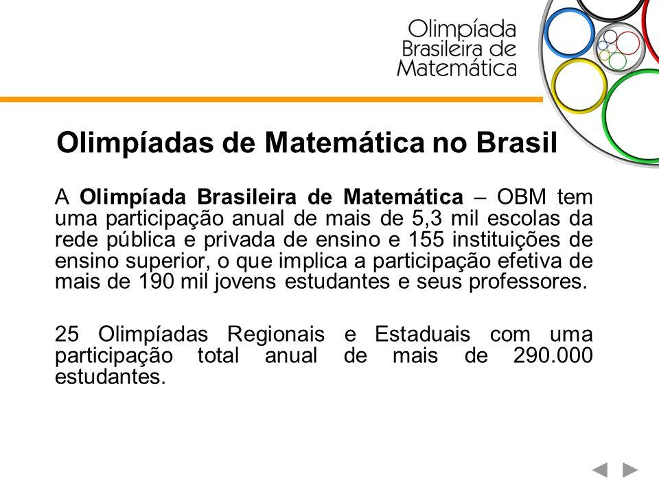 Olimpíadas de Matemática no Brasil A Olimpíada Brasileira de Matemática – OBM tem uma participação anual de mais de 5,3 mil escolas da rede pública e