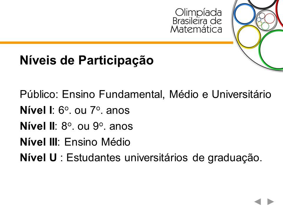 Níveis de Participação Público: Ensino Fundamental, Médio e Universitário Nível I: 6 o. ou 7 o. anos Nível II: 8 o. ou 9 o. anos Nível III: Ensino Méd