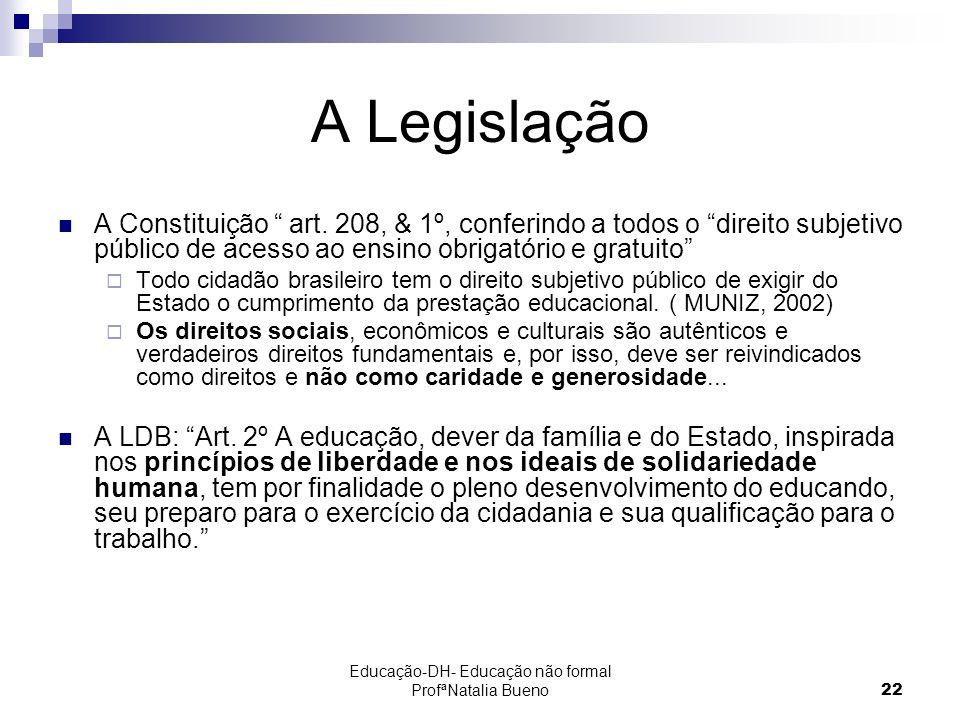 Educação-DH- Educação não formal ProfªNatalia Bueno22 A Legislação A Constituição art.