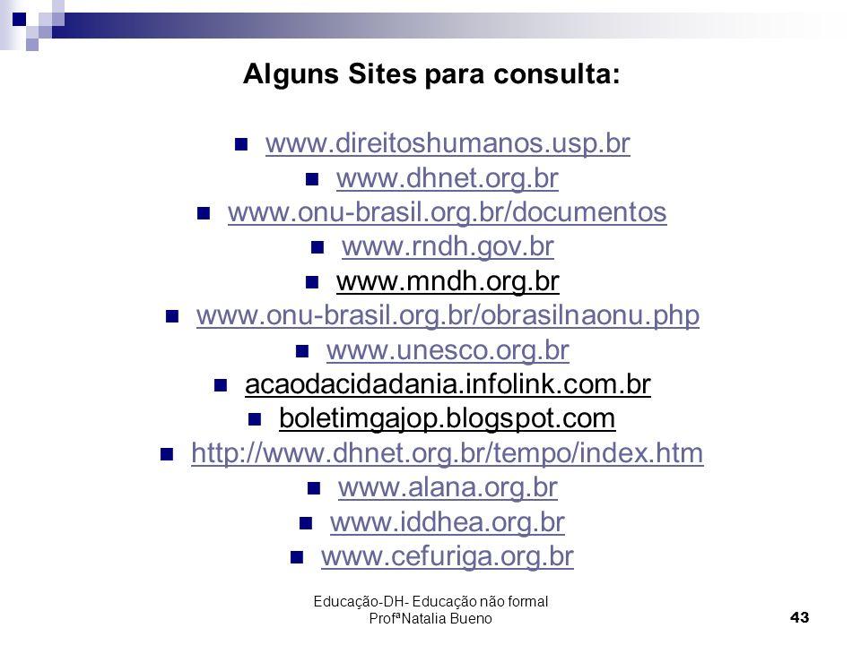 Educação-DH- Educação não formal ProfªNatalia Bueno43 Alguns Sites para consulta: www.direitoshumanos.usp.br www.dhnet.org.br www.onu-brasil.org.br/documentos www.rndh.gov.br www.mndh.org.br www.onu-brasil.org.br/obrasilnaonu.php www.unesco.org.br acaodacidadania.infolink.com.br boletimgajop.blogspot.com http://www.dhnet.org.br/tempo/index.htm www.alana.org.br www.iddhea.org.br www.cefuriga.org.br
