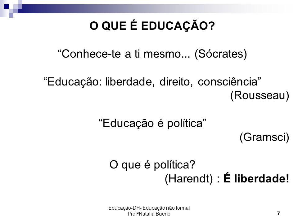 Educação-DH- Educação não formal ProfªNatalia Bueno7 O QUE É EDUCAÇÃO.