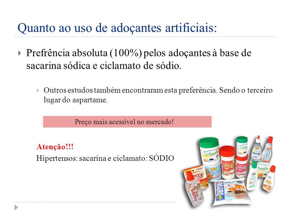Quanto ao uso de adoçantes artificiais: Prefrência absoluta (100%) pelos adoçantes à base de sacarina sódica e ciclamato de sódio.