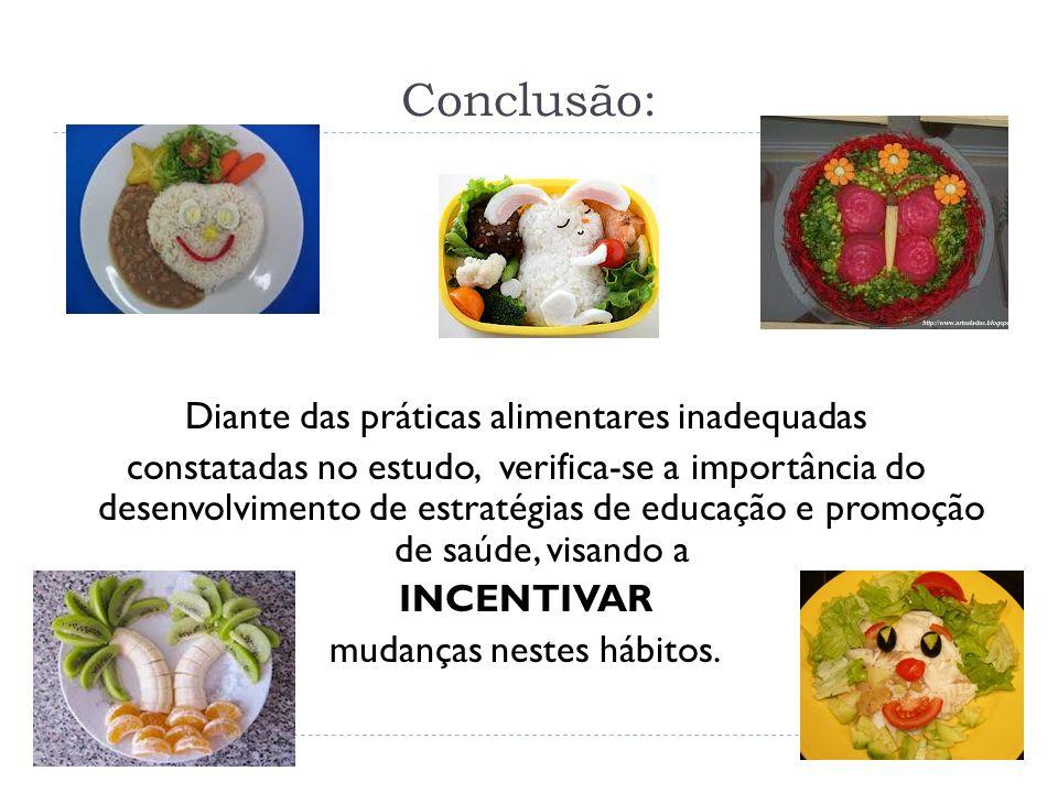 Conclusão: Diante das práticas alimentares inadequadas constatadas no estudo, verifica-se a importância do desenvolvimento de estratégias de educação e promoção de saúde, visando a INCENTIVAR mudanças nestes hábitos.