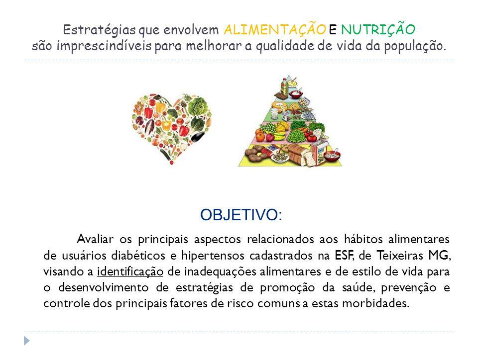 Estratégias que envolvem ALIMENTAÇÃO E NUTRIÇÃO são imprescindíveis para melhorar a qualidade de vida da população.