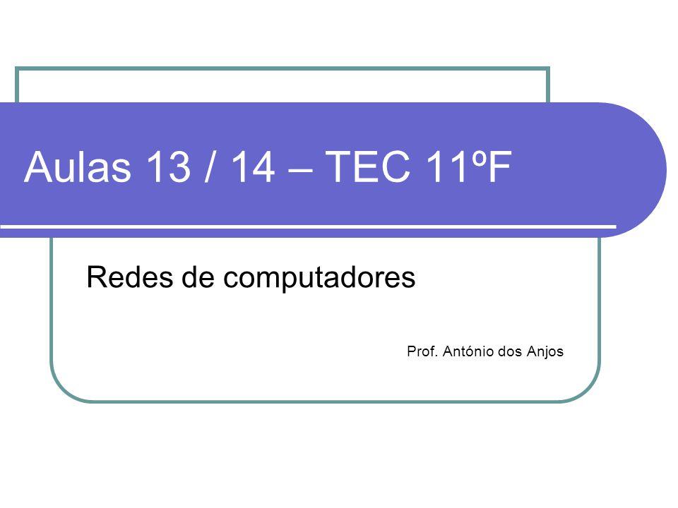Aulas 13 / 14 – TEC 11ºF Redes de computadores Prof. António dos Anjos
