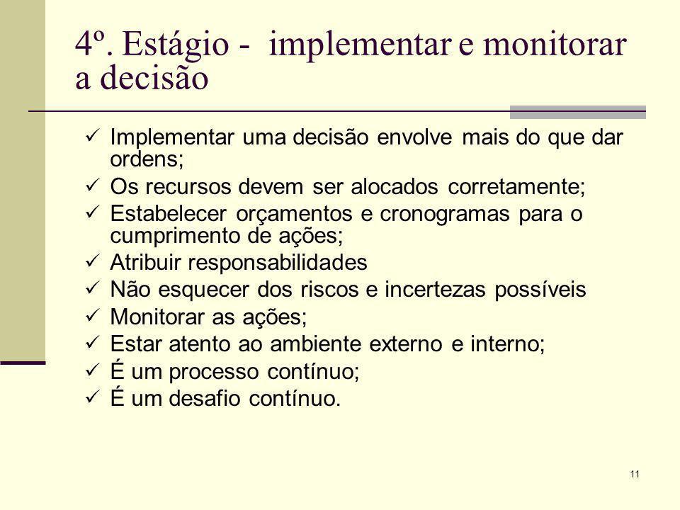11 4º. Estágio - implementar e monitorar a decisão Implementar uma decisão envolve mais do que dar ordens; Os recursos devem ser alocados corretamente