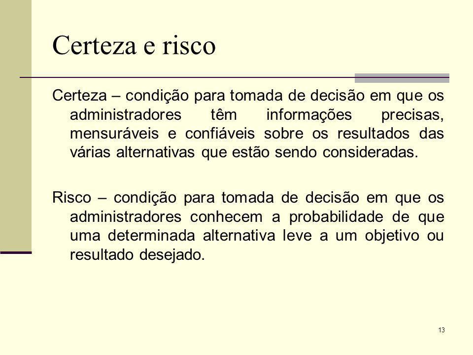 13 Certeza e risco Certeza – condição para tomada de decisão em que os administradores têm informações precisas, mensuráveis e confiáveis sobre os res