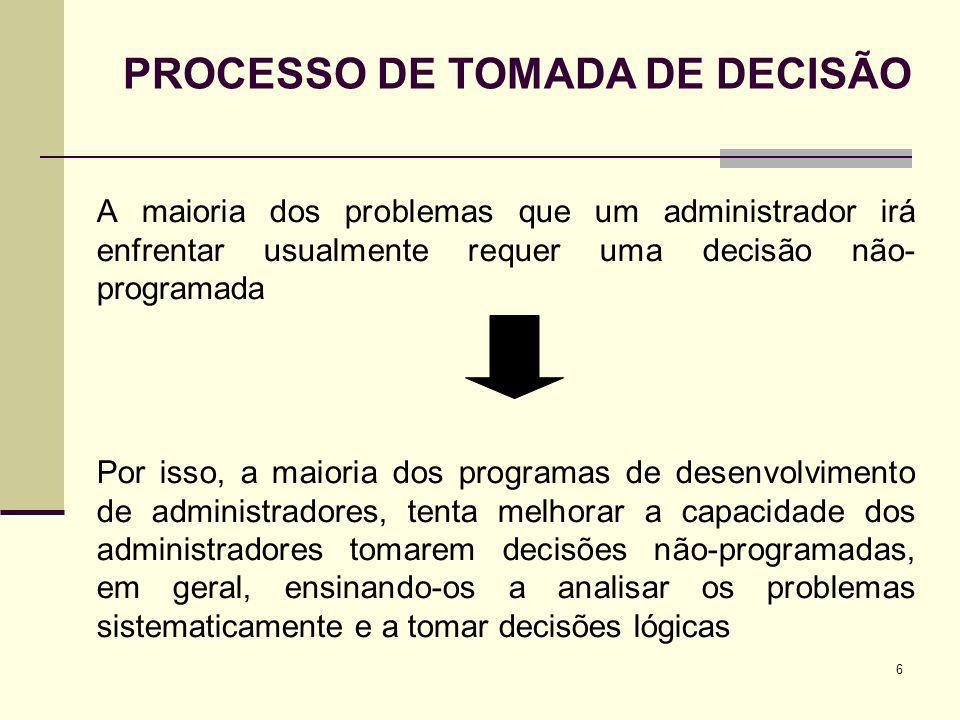 6 A maioria dos problemas que um administrador irá enfrentar usualmente requer uma decisão não- programada Por isso, a maioria dos programas de desenv