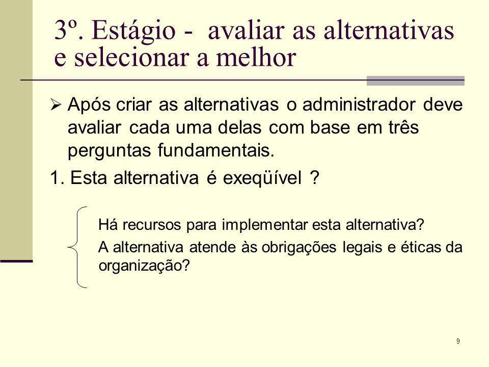 9 3º. Estágio - avaliar as alternativas e selecionar a melhor Após criar as alternativas o administrador deve avaliar cada uma delas com base em três