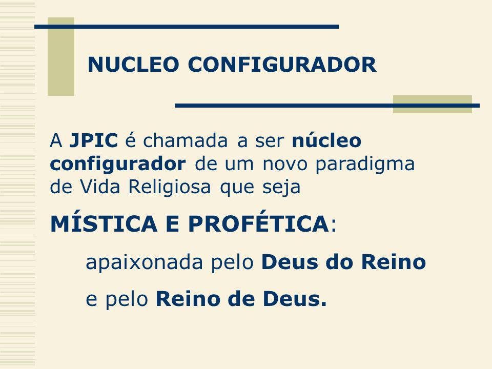 NUCLEO CONFIGURADOR A JPIC é chamada a ser núcleo configurador de um novo paradigma de Vida Religiosa que seja MÍSTICA E PROFÉTICA: apaixonada pelo De