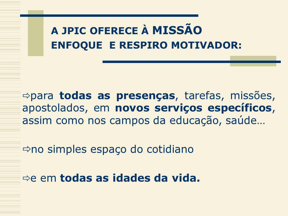 A JPIC OFERECE À MISSÃO ENFOQUE E RESPIRO MOTIVADOR: para todas as presenças, tarefas, missões, apostolados, em novos serviços específicos, assim como