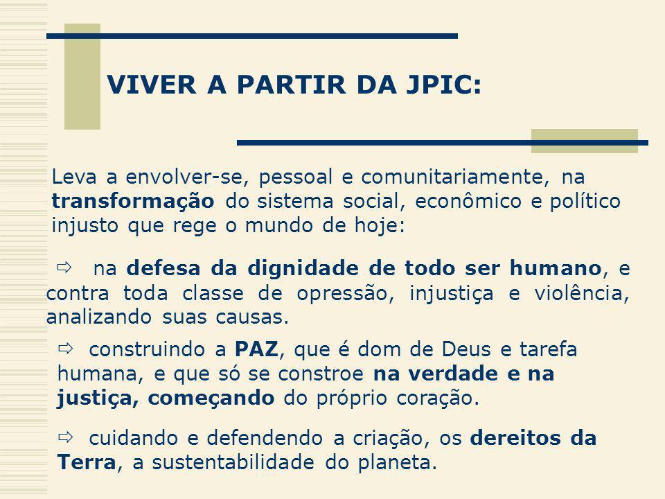 VIVER A PARTIR DA JPIC: Leva a envolver-se, pessoal e comunitariamente, na transformação do sistema social, econômico e político injusto que rege o mu