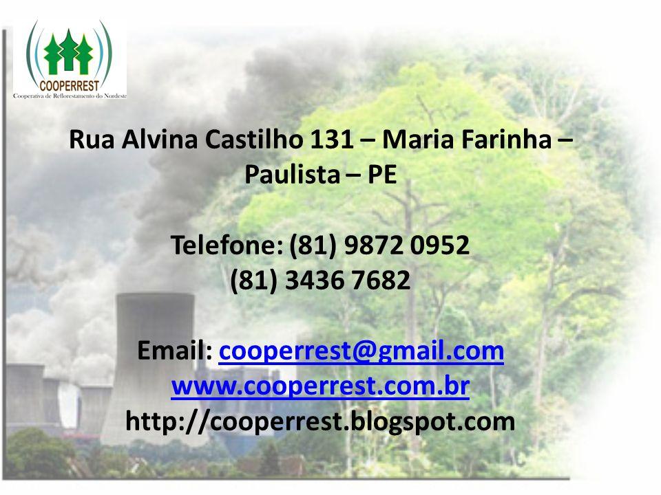 Rua Alvina Castilho 131 – Maria Farinha – Paulista – PE Telefone: (81) 9872 0952 (81) 3436 7682 Email: cooperrest@gmail.com www.cooperrest.com.br http