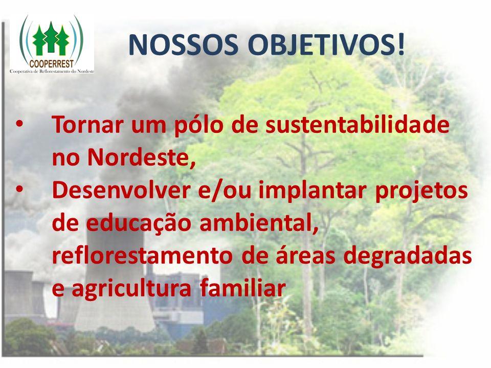 NOSSOS OBJETIVOS! Tornar um pólo de sustentabilidade no Nordeste, Desenvolver e/ou implantar projetos de educação ambiental, reflorestamento de áreas